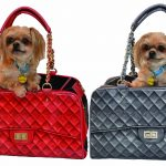 Red & grey quilted carriers