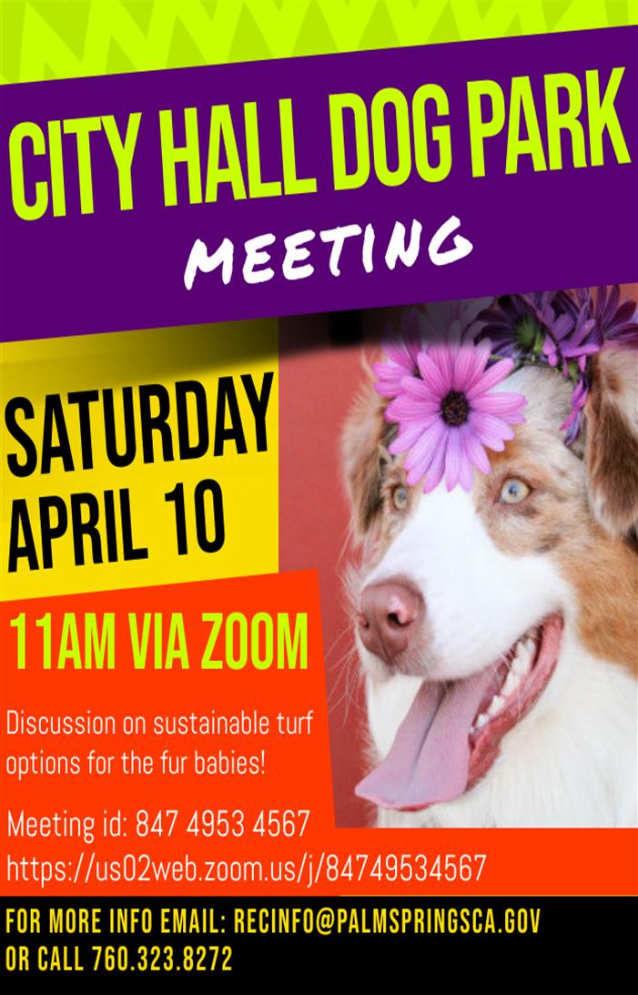 Palm Springs City Hall Dog Park meeting, flyer